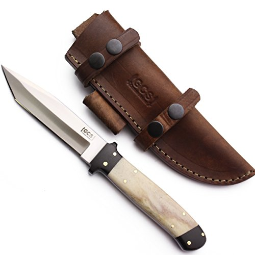 GCS Custom Handmade TANTO D2 Tool Steel Natural Bone Bushcraft Tactical Hunter Knife & Leather Sheath (Bone Handled Skinning Knife)