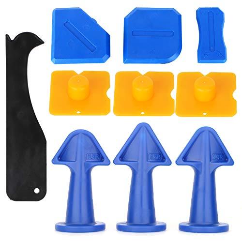 Inxens 10pcs Nozzle Plus Rubber Caulking Tool Kit Sealant Finishing Tool Set Caulk Scraper Remover for Smoothing