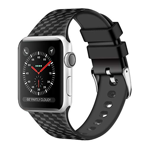 WISHTA Compatible with Apple Watch Band 38mm 42mm Series 3/2/1 40mm 44mm Series 4,Soft Rubber Sport Fan Wristbands for iwatch Women Men (Black, 42mm/44mm) ()