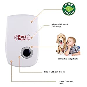 Pest Exterminator Ultrasonic Electronic Mouse Repellent Insect repellent bugs, spiders, cockroaches, ants, flies, fleas, moths (2)