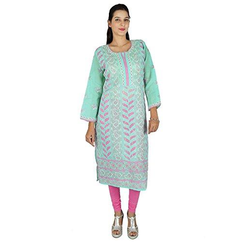 Chikan bordado Kurta diseñador de las mujeres étnicas Kurti algodón de la túnica de vestir Mar verde