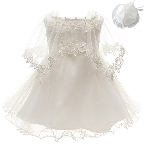 3Pcs Set Baby Girl Dress Christening Baptism Gowns Formal Dress (12M/12-15months) Ivory White