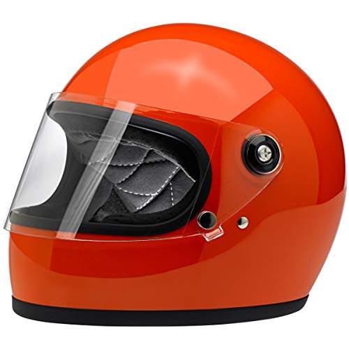 Biltwell Gringo S ECE Rated Helmet Gloss Hazard Orange Large (More Size and Color Options) - Replacement Cheek Parts Pads