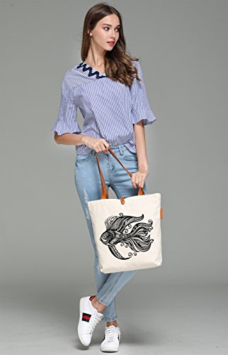 So'each Women's Goldfish Graphic Pattern Top Handle Canvas Tote Shoulder Bag