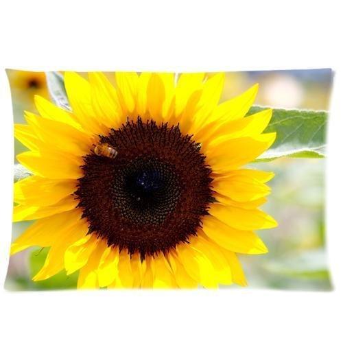 Handmade Sham - Mina-shop a Sunny Sunflower background Decorative Handmade Cotton Throw Pillow Covers /Pillow Shams,one side print,20x30 inch