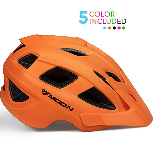 - MOON Kids Bike Helmet,Knucklehead Unisex Youth Mountain Road Bicycle Helmet for Girls and Boys with Detachable Visor (Orange, M)