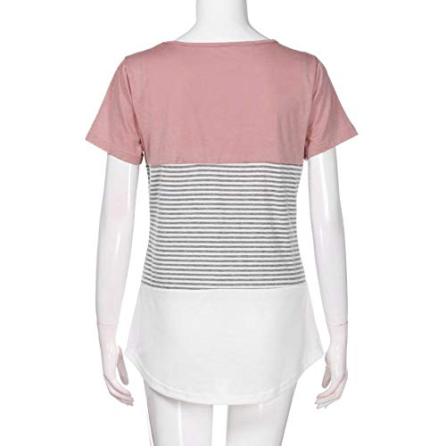 JFLYOU Women T-Shirt,Fashion Short Sleeve Triple Color Block Stripe Casual Blouse Tunic Tee(Pink1,S) by JFLYOU-Blouse (Image #1)