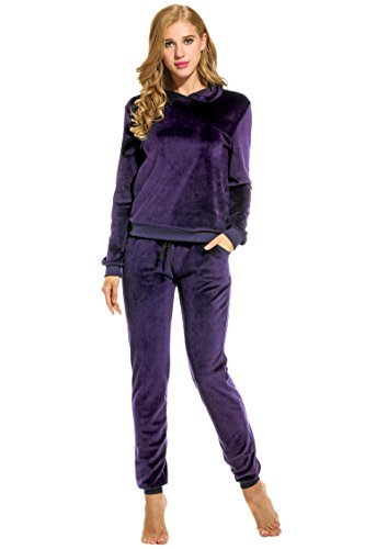 Hotouch Women's Athletic Fleece 2 Pcs Zip Hoodie & Sweatpants Tracksuit Set Purple - Tracksuit Purple