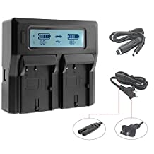 Fomito LP-E6 Dual Digital Battery Charger with LCD Screen Compatible with Canon EOS 5DS 5DSR 5D3 5D2 6D 7D 7D2 60D 70D
