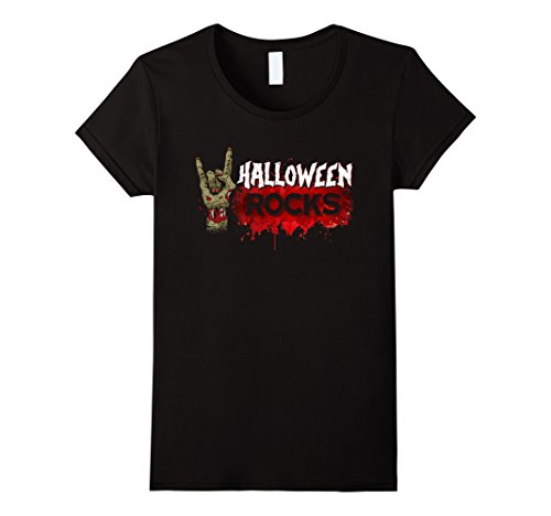 Womens Halloween Rocks T-shirt Zombie Rock & Roll Scary Costume Medium Black
