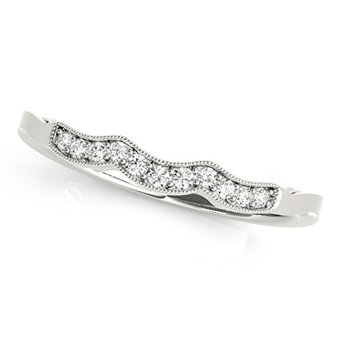 MauliJewels Diamond Engagement Wedding Curved Band in 14K White Gold