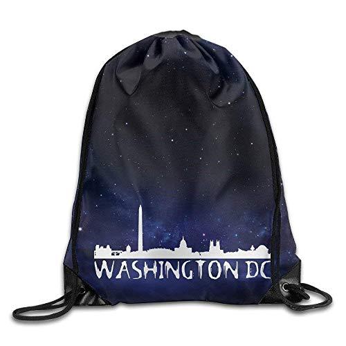Unisex Drawstring Backpack, Washington DC City Skyline Logo Cool Drawstring Backpack String Bag ()