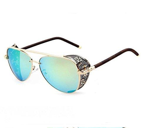 YKQJING Espejo de rana de Steampunk gafas de sol hombres ...