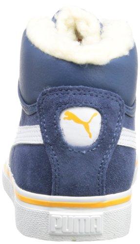 Puma Puma Mid Vulc FUR Jr - Zapatilla alta de cuero infantil azul - Blau (dark denim-white-zinnia 05)