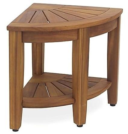 Amazon.com: Haven Solid Teak Corner Vanity Stool Strong Indoor and ...