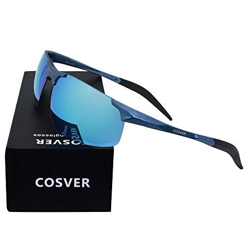 136 Glasses (COSVER Mens Sunglasses Polarized Sports UV Protection Sunglasses for Men Metal Frame Ultra Light (Blue Frame/Blue Lens))