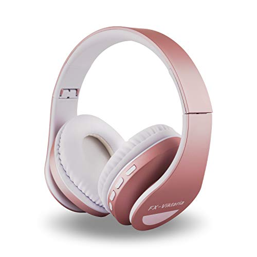 FX-Viktaria Over Ear Headphones, Headset with Microphone, Foldable and Lightweight, Support TF Card, USB Charging Headset, MP3 Mode and FM Radio for Cellphones, Laptop- Rose Gold