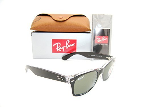 New Authentic Ray-Ban New Wayfarer Black / Green Polarized RB 2132 6052/58 - Sizes Ban Ray 2132