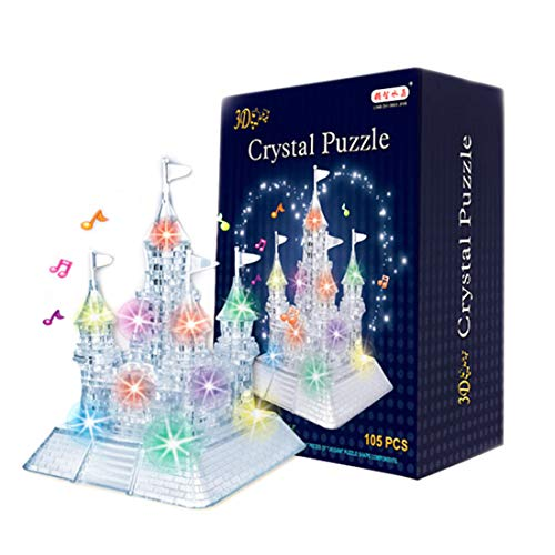 (PeleusTech® 3D Crystal Puzzle Castle Puzzle Jigsaw Gift with Music Colorful Lights for Children)