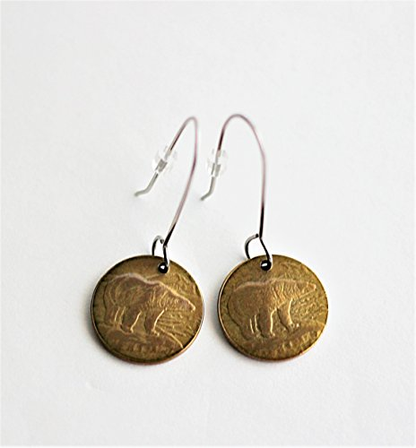 Polar Bear Slightly Domed Coin Earrings Canada 2 Dollars Toonie Drop Dangle Stainless Steel Wires