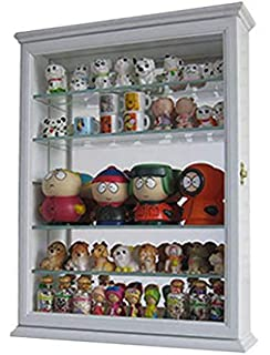SC06B Wall Curio Cabinet With Glass Shelves And Door, Mirrored Background  (White)