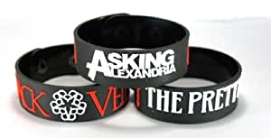 Black Veil Brides And The Pretty Reckless And Asking Alexandria New 3Pcs(3X) Bracelet Wristband B3R2A2