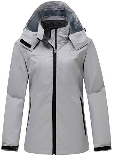 Zip Windbreaker (Wantdo Women's Sportswear Windbreaker Front Zip Hooded Outdoor Windproof Jacket Grey M)