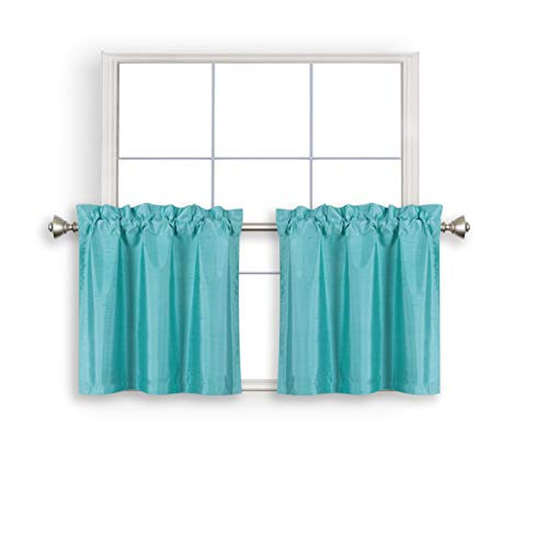 Home Queen Faux Silk Rod Pocket Tier Curtains for Small Window, Short Room Darkening Kitchen Curtains, Café Drapes, 2 Panels, 30 W X 24 L Inch Each, Solid Teal