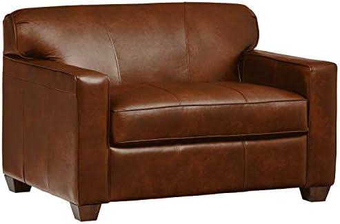 Amazon Brand Stone Beam Fischer Sleeper Chair, 51 W, Chestnut Leather