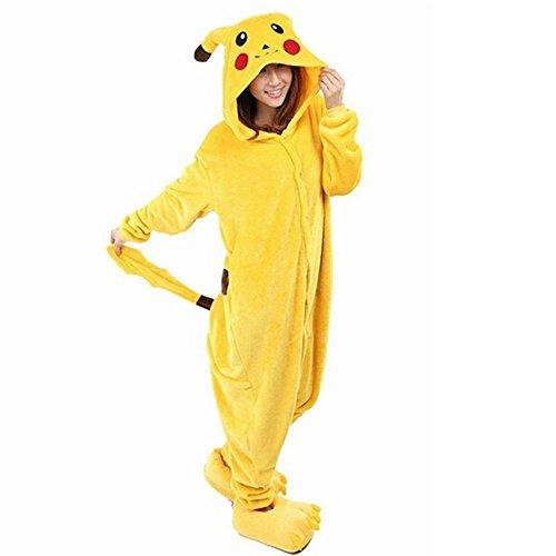 Pikachu Costume Female (Tengweng Womens Costumes Cosplay Flannel Anime Cartoon Onesie Adult Pajamas M Pikachu)