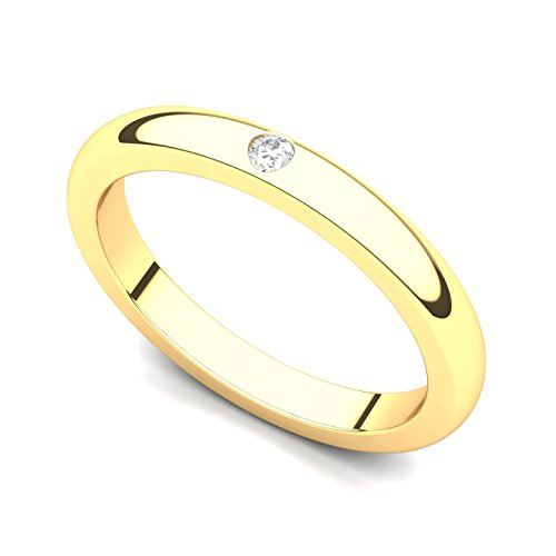 18k Yellow Gold Bezel set Diamond Wedding Band Ring (G-H/SI, 0.03 ct.), 7 Bezel Set Diamond Band