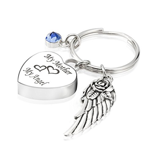 7Morning Engraved Personalised My Mother My Angel Cremation Urn Jewelry Keychain Memorial Ash Keepsake March Aquamarine Birthstone Angel Wings Pendant ()