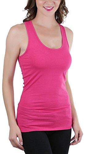 ToBeInStyle Women's Racerback Solid Print Tank Top - Super H Pink - -