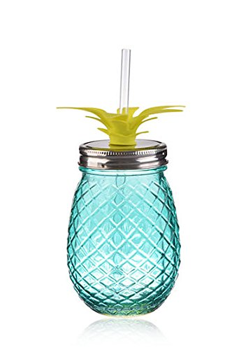 Pineapple Shaped Blue Glass Mason Jar Sipper w/Straw-Lid 16oz…