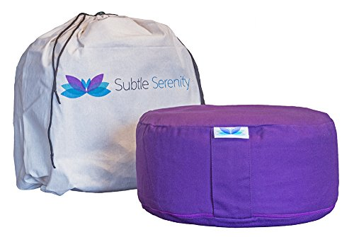 Subtle Serenity's Premium Meditatin Cushion - Buckwheat Filled Zafu Yoga Meditation Bolster Pillow - 3 Colors