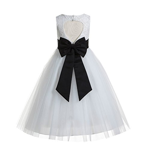 ekidsbridal Floral Lace Heart Cutout White Flower Girl Dresses Black First Communion Dress Baptism Dresses 172T 12 ()