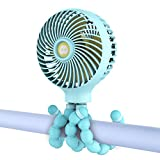 WiHoo Mini Handheld Stroller Fan,Personal Portable Baby Fan with Flexible Tripod Fix on Stroller/Student Bed/Bike,USB or Battery Powered Desk Fan Adjustable 3 Speeds for Camping/Traveling/BBQ/Gym Fan
