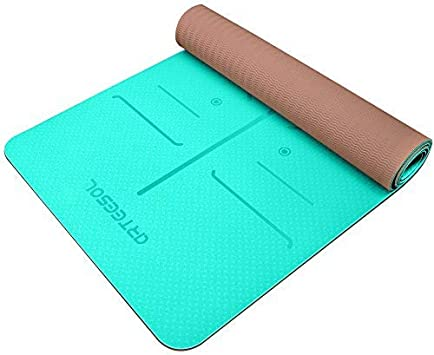 Arteesol Tapis de yoga antid/érapant sans substances nocives TPE Tapis fin de yoga Tapis de fitness Tapis de sport pour yoga Pilates Fitness 183 cm x 61 cm x 6 mm