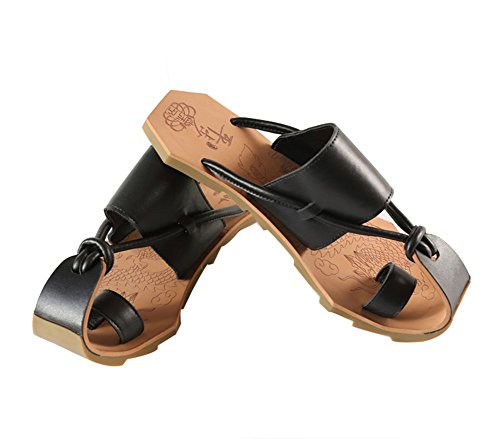 Summer Men's Casual Cow Leather Sandals Shoes Laser Engraving Beach Shoes Chinese Style Slippers by Veribuy