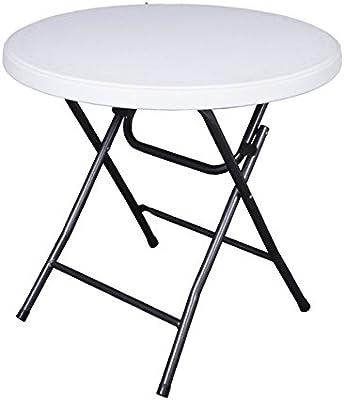 Garten Klapptisch Kunststoff.Varilando Runder Klapptisch Bianco Aus Kunststoff Und Stahl ø80 Cm Garten Tisch Ess Tisch