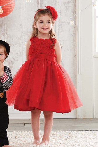 Newborn and Toddler Red Rosette Dress for Valentine's Day