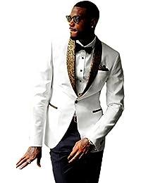 Mens 2-Piece Groom Suit White One Button Tuxedo Wedding Party Jacket & Pants
