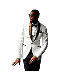 JYDress Mens 2-Piece Groom Suit White Tuxedo Wedding Party Jacket & Pants