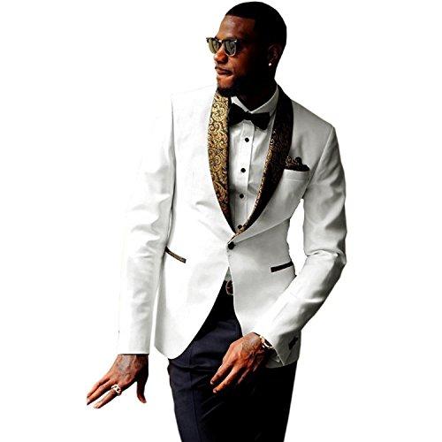 JYDress Mens 2-Piece Groom Suit White One Button Tuxedo Wedding Party Jacket & Pants, White, 36US/UK & 46EU-JACKET,30-PANTS ()
