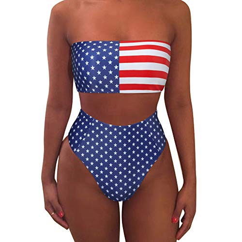 MOOSLOVER Women's Bandeau Bikini Leopard Print High Cut Strapless High Waist Bathing Suit(S,FB3665-navy Blue)