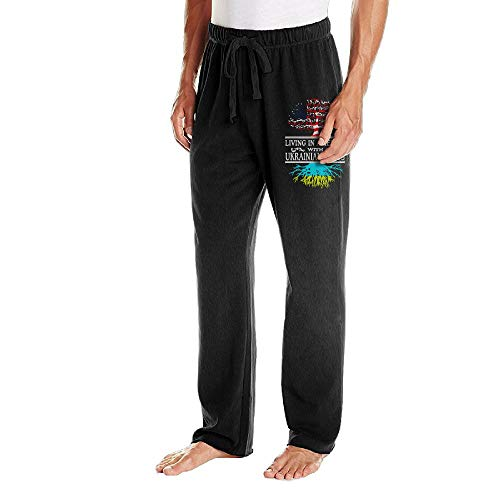BibiQQgait Mens Jogger Sweatpants Living in America Ukrainian Roots Open Bottom Pajama Pants -