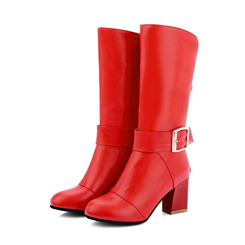 AllhqFashion Mujeres Sólido Tacón ancho Cremallera Posterior Puntera Redonda Botas Rojo