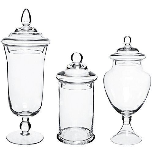 MyGift Clear Glass Apothecary Jars, Decorative Assorted Wedding Centerpieces, Set of 3 for $<!--$44.50-->