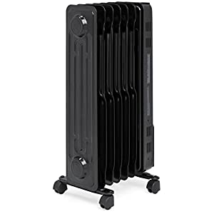Best Choice Products 1500W Portable Electric Energy-Efficient Radiator w/ Adjustable Thermostat, Safety Shut-Off - Black