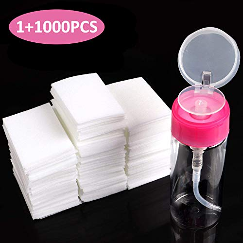BTArtbox Gel Nail Polish Remover Set 1000PCS Lint Free Nail Wipes Cotton Pads With 1PCS Push Down Pump Dispenser Bottle for Professional Soak Off Gel Polish Remover Acrylic Nail Remover ()